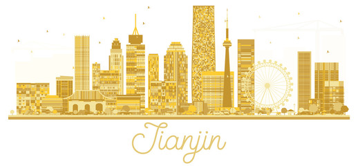 Tianjin China City skyline golden silhouette.