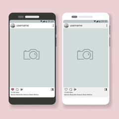Flat black and white vector smartphone and open social app with post place for photo, phone mockup template for image design, banner, web
