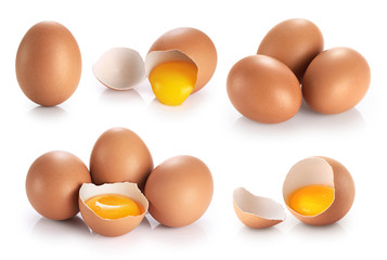 Eggs isolated on white background. Broken egg, yolk.
