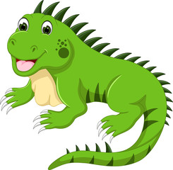 cute iguana cartoon posing with smile and happiness