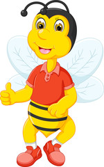 cute bee cartoon standing with smile and thumb up