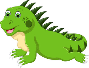 funny iguana cartoon posing with smile and look up