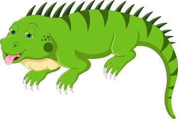 cute iguana cartoon posing with smile and sticking her tongue out