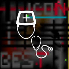 Doctor with stethoscope icon
