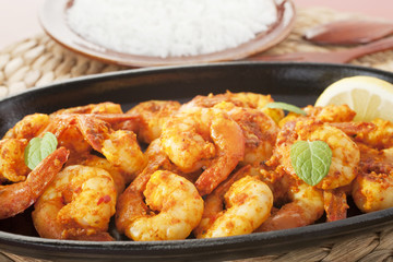 Tandoori Prawns Shrimp Indian Curry Food Meal