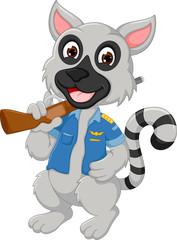 Foto auf Leinwand Bauernhof cute racoon cartoon standing with smile and bring gun