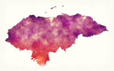 Honduras watercolor map in front of a white background