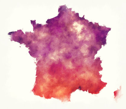 France watercolor map in front of a white background