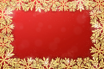 Merry Christmas and Happy New Year holiday background with gold glittering snowflakes frame. Winter seasonal luxury greeting card