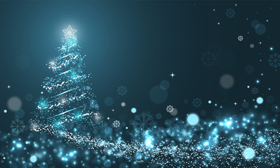 Glowing Christmas tree with snowflakes on blue winter vector background with snow wave, stars and snowflakes.