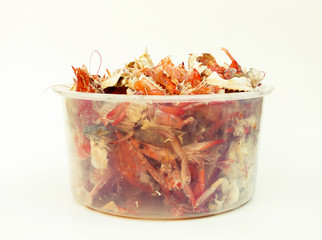 left over food trash, crab shell and shrimp shell