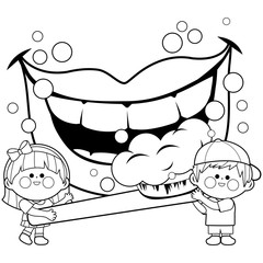Children holding a toothbrush and brushing teeth. Coloring book page