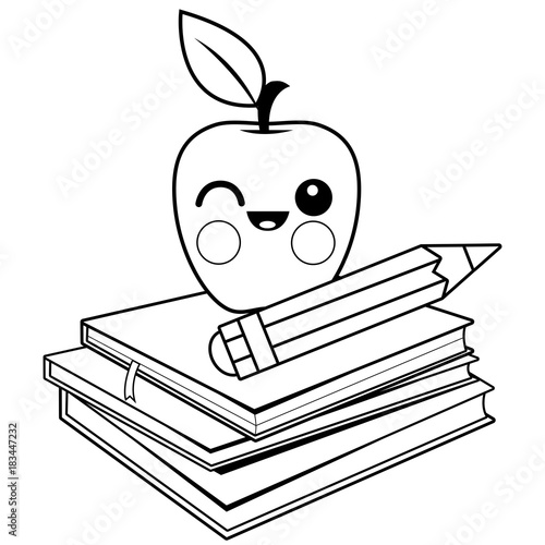 Apple Books And Pencil Black White Coloring Book Page