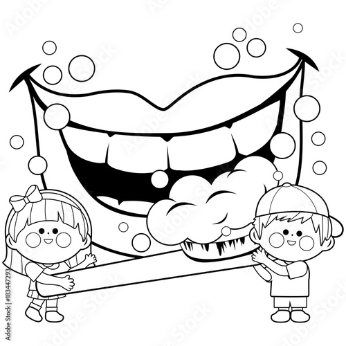 Children Holding A Toothbrush And Brushing Teeth Coloring Book Page