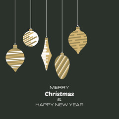 Merry Christmas and Happy New Year background with christmas balls. Vector background  for your greeting cards, invitations, festive posters.