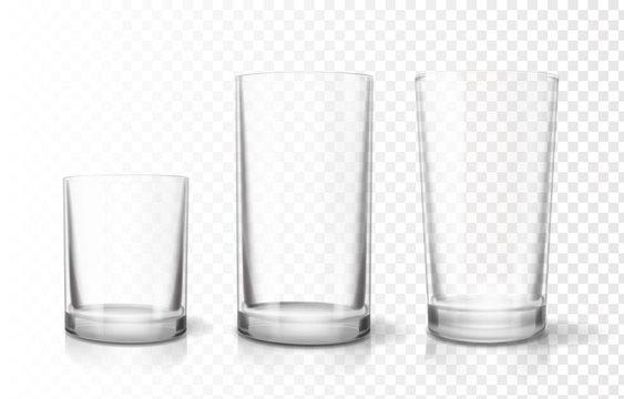 Transparent glasses goblets set, Relistic vector icon