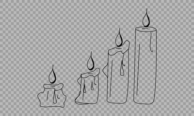 Vector Set of Sketch Candles. Process of Candle Burning. on a transparent background.
