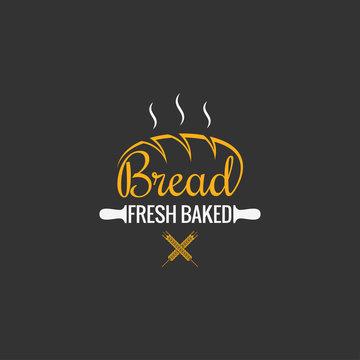 Bread logo design. Bakery sign on black background