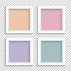 Set of realistic square empty picture frames