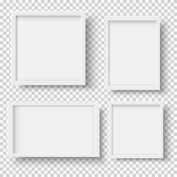 Set of realistic empty white picture frames