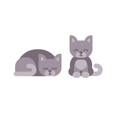 Cute little kitten sleeping and sitting flat icons