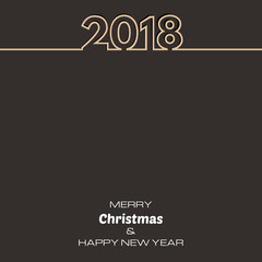 Brown Happy New Year 2018 Background. New Year and Xmas Design Element Template. Vector Illustration.