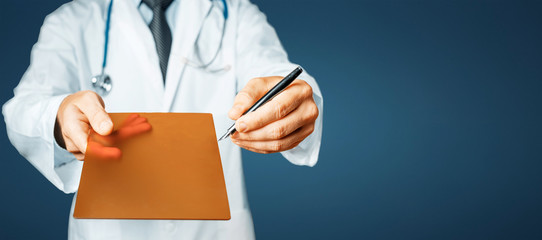Doctor Pointing Your Prescription On A Digital Tablet Screen On Blue Background