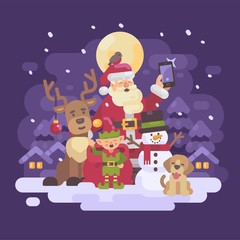 Santa Claus with reindeer, elf, snowman and dog taking a selfie in a snowy night winter village landscape. Christmas characters greeting card flat illustration