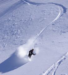 snowboard en poudreuse - trace