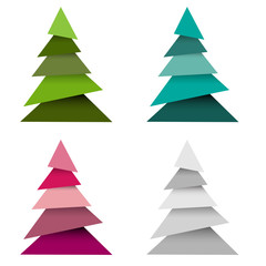 Set of Christmas trees made from pieces paper