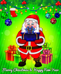 Santa Claus with gift boxes on green background.