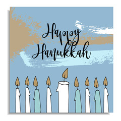 Hanukkah greeting card with hand drawn candles from menorah candleholder. Vector illustration, artistic background with various brush strokes.