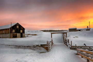Roeros museum during colorful winter sunrise