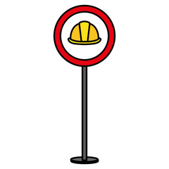 construction caution signal with helmet vector illustration design