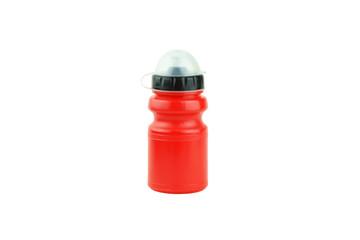 Sports red water bottle.