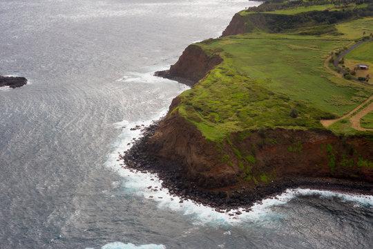 Aerial view of Maui's North Coast.  Road to Hana