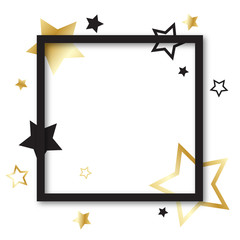 Black Frame with Gold and Black Stars