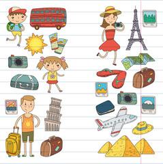 Doodle vector set Travel , vacation, adventure. Children with parents Preparing for your journey. Kindergarten, school summer vacation Kids drawing
