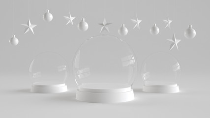 Three Glass dome with white tray on white background with hanging white balls and stars ornaments. For new year or Christmas theme. 3D rendering.