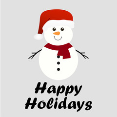 Merry Christmas and Happy New Year. Snowman. Happy holidays. Vector illustration