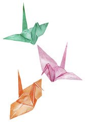 折り鶴 水彩イラスト