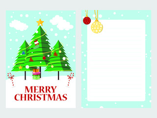 Merry Christmas greeting card with xmas tree decoration. Vector design
