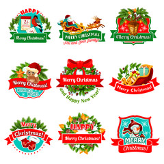 Christmas and New Year holiday festive badge