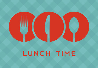 Lunch time with cutlery icons over green tablecloth