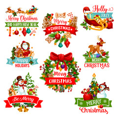 Christmas and New Year winter holiday icon design