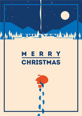 Merry christmas minimalistic vector illustration