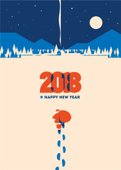 New year 2018 minimalistic vector illustration