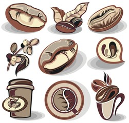 Coffee logo - vector illustration, emblem set design