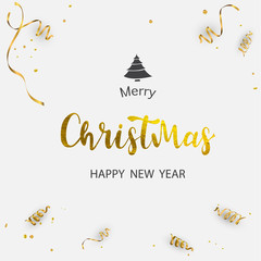 Merry Christmas hand drawn gold text font, type composition. Calligraphy lettering xmas greeting card, banner or poster design on white ribbons and confetti background