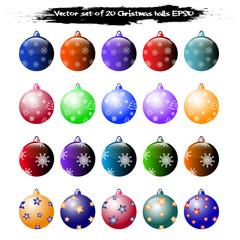 Vector set of 20 Christmas balls